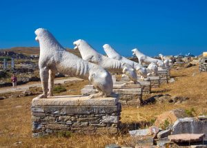 Catamaran charter in Greece - The famous Delos ancient stone lions